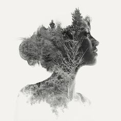 signed and numbered prints double exposure portrait of a young girl in profile