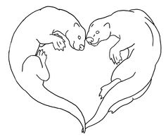 Otters in Love Embroidery Pattern