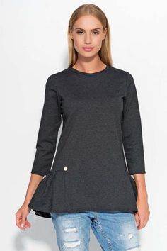 Dark Grey Casual Comfy Peplum Blouse