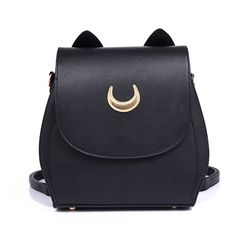 a0849befc New Sailor Moon Black PU Leather Backpack Women Shoulder Rucksack 2016  School Bags for Teenage Girls
