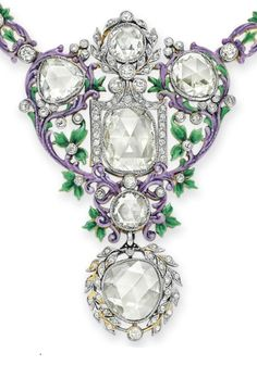 A BELLE ÉPOQUE DIAMOND AND ENAMEL NECKLACE (detail), BY PAULDING FARNHAM, TIFFANY & CO.  circa 1900.
