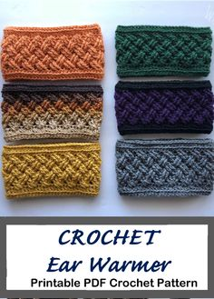 Crochet ear warmer pattern - crochet headband pattern - A Crafty Life Make some cozy Crochet Ear Warmer Patterns. They make great gifts, quick and easy. You can make them in all kinds of colors to fit anyone. Crochet Ear Warmer Pattern, Crochet Headband Pattern, Crochet Patterns, Easy Crochet Headbands, Sewing Headbands, Crochet Ripple, Crochet Yarn, Crochet Winter, Crochet Woman