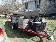 Hacking a Harbor Freight Trailer Kit – Kayak Edition Trailer Kits, Kayak Trailer, Trailer Build, Utility Trailer, Camp Trailers, Travel Trailers, Kayak Fishing Gear, Kayak Camping, Canoe And Kayak