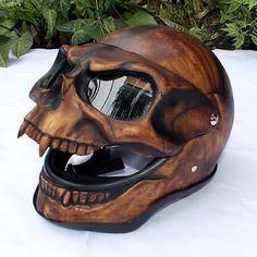 Motorcycle-Helmet-Skull-Monster-Death-Visor-Flip-Up-Shield-Ghost-Rider-Full-Face