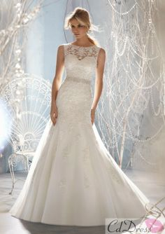 Beaded Tulle and Lace Wedding Dress - CDdress.com