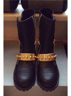 Classic Black Rivets Flat Boots