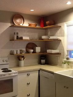 Optimizing a kitchen corner will be a big help to save more space and make your kitchen becomes neat. Check these kitchen corner ideas out! Kitchen Corner, Kitchen Dining, Kitchen Decor, Kitchen Wall Shelves, Kitchen Cabinets, Floating Shelves Diy, European House, Kitchen Hardware, Laundry Room Design