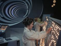Lee Meriwether at the Time Tunnel computers