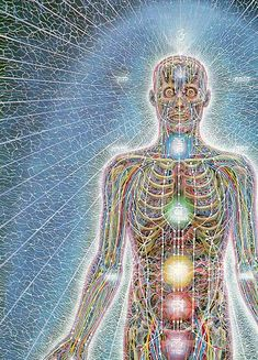 alex Gray , I like that he shows the Chakra points in most of his art, and usually the third eye is in detail..