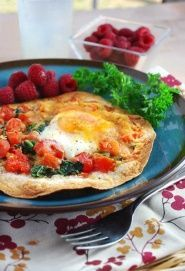 Breakfast Tortilla - Try this breakfast tortilla for a healthy open-faced breakfast sandwich. This easy egg recipe makes a delicious high protein breakfast or light lunch. Calories: 234/