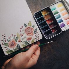 ***WATERCOLOR TIN MADE USING MY SMALL IKEA TIN BOX WITH DELICATE FLOWER PATTERN*** More #watercolorarts