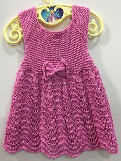 Yellow knit baby dress baby dress knitted baby by KnittingAndYarns