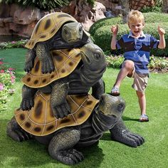 The Design Toscano Threes a Crowd Giant Stacked Turtle Statue is sure to be a bold feature of your yard or garden. This resin statue showcases a stack. Garden Art, Garden Design, Garden Pond, Garden Ideas, Sculpture Art, Garden Sculpture, Turtle Love, Tortoises, Turtles