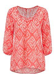 lattice back printed chiffon blouse - maurices.com