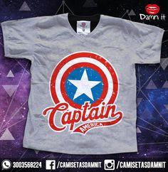 Camiseta Capitan América  https://www.facebook.com/CamisetasDamnit