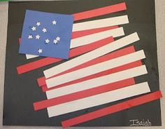 Patriotic Toddler Crafts in time for Memorial Day.  Flag Pasting Project.