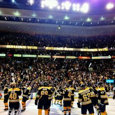 5/25/13 The B's salute the crowd after 2nd round playoff game 5 at TD Garden vs NY Rangers.