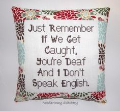 Funny Cross Stitch Pillow, Red Brown and Blue Pillow, Decorative Pillow, BFF Quote by DaisyCombridge