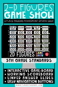 2D shape review can be FUN for students to learn and practice with this highly engaging 2D Shapes Game Show PowerPoint! This game will make the skill of working with and understanding 2D shapes… More
