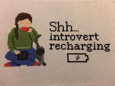 I want this needlepoint to hang on my door! Cross Stitching, Cross Stitch Embroidery, Cross Stitch Patterns, Textiles, Needlepoint, Nerdy, Needlework, Introvert Humor, Crafty