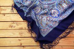 Russian Shawl 57 Winter Blue Wool Folk Scarf 100% Silk