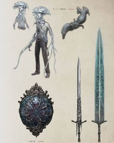 From the official artbook 😍 Bloodborne Concept Art, Bloodborne Art, Dark Fantasy, Fantasy Art, Bloodborne Cosplay, Arte Dark Souls, Scary Art, Weapon Concept Art, Soul Art