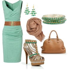 Unger dress, Le Silla Sandals, Me scarf, J Crew satchel, & Verde Emerald earrings - cute look, but pricey. The Forever 21 belt & Chamak crystal bangles are more reasonable.