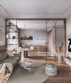 Apartment Interior, Apartment Design, Beige And Grey Living Room, Salons Cosy, Room Partition Designs, Parisienne Chic, Design Minimalista, Piece A Vivre, Living Spaces