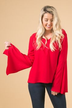 Kendra Red Flare Sleeve Blouse, womens fashion, pretty blouse, shop Skylar Belle