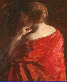 A lady with a red drees by Julius Paulsen. Medium: Oil on canvas. Lot was auctioned Dec 2011 at Auction Havnen, Copenhagen, Denmark Canvas Size, Oil On Canvas, Danish, Denmark, Auction, Artists, Fine Art, Portrait, Lady