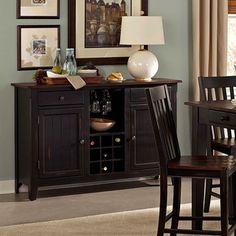Zachary Black/ Brown Wine Rack Buffet Storage Server | Overstock.com Shopping - Big Discounts on Buffets
