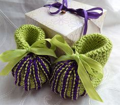 A personal favourite from my Etsy shop https://www.etsy.com/uk/listing/194939962/knitted-baby-booties-in-lime-green