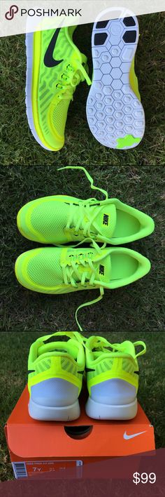 """NWB NIKE ⚡️ FREE RUM 5.0 SZ 8.5 women 7 youth Volt ⚡ neon. Ships with original box best workout shoe ever! """"Free run 5.0"""" size 7 youth is equivalent to a woman's size 8.5. No filters on any of the photos. Mix between neon green and neon yellow white background is indoors with natural light only and grass pics are outside taken in the shade. Bundle items to save. Nike Shoes Sneakers"""