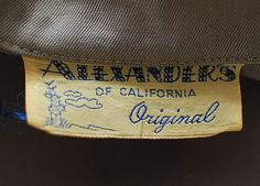 Vintage clothing label - Alexander's of California Original.  I love the cactus graphic - not something one automatically associates with California.