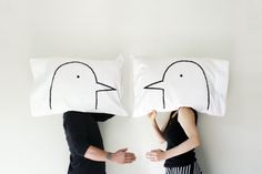 Love Birds Pillowcase set, His and Hers, 300TC Standard, Queen bedding, or King - gift for couple, Wedding Gift, kids room decor