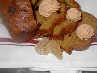 PUMPKIN BREAD- I first learned to make this delicious, moist, nutritious  bread when I taught Junior High Home Economics in Mineola, NY. Try making them in well-greased coffee cans for gift giving if you are one of the Ushpisim at your friend's sukkah! or slice into rounds and top with the ginger spice cream cheese spread.