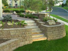 Sandstone garden wall flower beds terrace garden levels