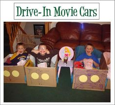 "My kids inexplicably love climbing into boxes anyway, so why not make them into ""cars"" for an in-home ""drive-in"" movie? But do I need pop-tart box ""speakers"" or do even pretend drive-ins just use the radio these days?"