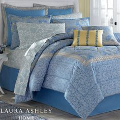 Touch of Class-Prescot Cornflower Blue Comforter Bedding by Laura Ashley Home Nautical Bedroom, Blue Bedroom, Bedroom Decor, Yellow Bedrooms, Guest Bedrooms, Guest Room, Blue Comforter, Comforter Sets, Yellow Duvet
