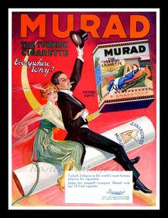 """Murad Cigarettes Vintage 1920s Ad - Cigarette Ride - Wall Art Print 11"""" x 14"""""""