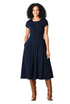 Chelsea knit dress - Women's Clothing at eShakti Modest Dresses, Modest Outfits, Fall Dresses, Modest Fashion, Dresses For Work, Short Skirts, Knit Dress, Dresses Online, Ready To Wear