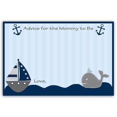 Invite guests offer new mommy advice at your boy baby shower with this classic blue advice card featuring baby whales. Card measures 4 x 6.