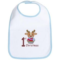 Baby 1st Christmas Bib on #baby #first christmas #infant #baby first christmas #reindeer #cupcake #1st christmas #babies 1st christmas #1st christmas #holiday #graphic design gifts and clothings for babies