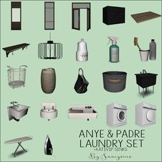 "sanoysims: ""Anye Laundry Room Set (TS4) As soon as I saw this set, I knew I had to have it, lol. Among Anye's set there's also including some of Padre Lancaster laundry set and some sinks that I had..."