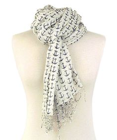 Look at this Ivory & Navy Anchor Scarf on #zulily today!
