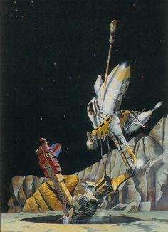 """Cover art by Peter Jones for Frederick Pohl's """"The Gold at the Starbow's End"""" (1975)"""