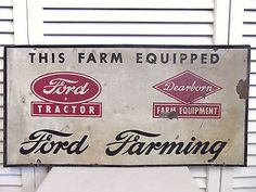 Vintage Original Ford Tractor Sign Farm Equipment Dearborn MI Old Tin Sign