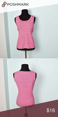 Jones New York Pink Striped Blouse In excellent condition! Very comfortable, stretchy, and lightweight! Buy three items and get one free plus 15% off your purchase total! Jones New York Tops Blouses