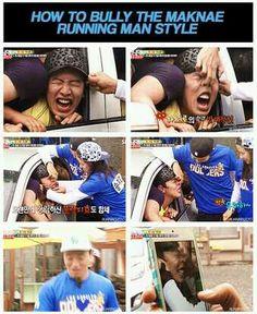 How to bully the maknae Running Man style. They always pick on poor Kwang Soo. Running Man Funny, Running Man Song, Running Man Cast, Running Man Korean, Ji Hyo Running Man, Monday Couple, Korean Tv Shows, Song Joong, Kwang Soo