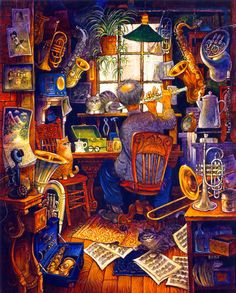 The Music Man by Bill Bell ~ whimsical art ~ cats